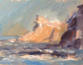 Ghislaine Howard Cliffs at Staithes 2014 Acrylic on panel 9x12ins